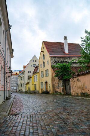 Narrow street in the old town of Tallinn, Estonia