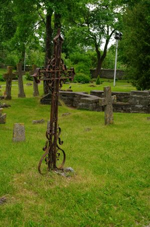 Tallinn, Estonia - June 19, 2011: Graves at old cemetery of St. Brigitta convent in Pirita region, Tallinn, Estonia
