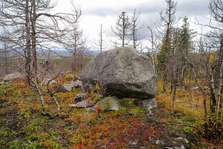 Megalithic stone -seid,  on mountain Vottovaara, Karelia, Russia