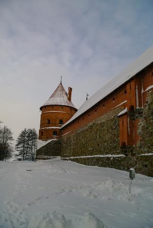 Medieval castle in Trakai, winter landscape, Vilnius County, Lithuania