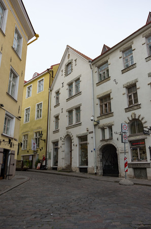 Tallinn, Estonia - July 29, 2017:   Old houses on Rataskaevu Street of medieval Tallinn center. Editorial
