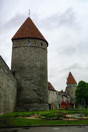Walls of Tallinn are medieval defensive walls constructed around city of Tallinn. Rope Hill Tower (Koismae torn). Estonia Editorial