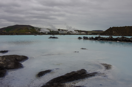 The Blue Lagoon, a geothermal bath resort in the south of Iceland, a must see by tourists. Panorama Editorial