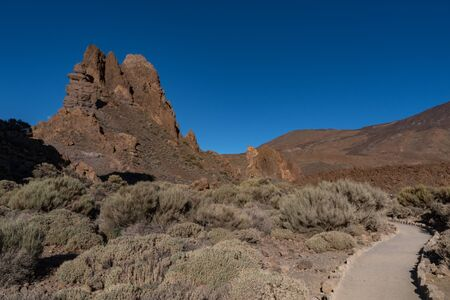 Avis de Roques de García rock unique formatio, Parc National du Teide, Tenerife, Canaries, Espagne Banque d'images
