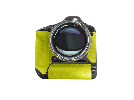 Modern professional camera for professional shooting in nature black with yellow leather inserts 3D render on white background no shadow