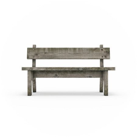 hammered: Ancient rural bench from logs. Roughly hammered together wooden bench. Isolated, on white background, 3d rendering.