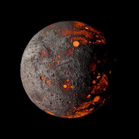Planet Alien hot on black background 3d rendering.