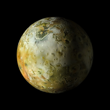 Solar system planet Io on black background 3d rendering.