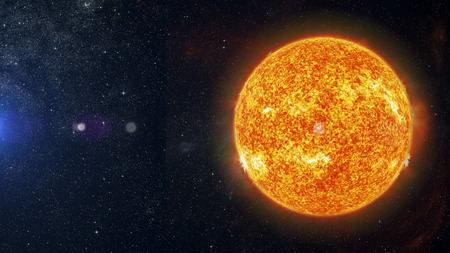 Image of Sun on nebula background 3d rendering.