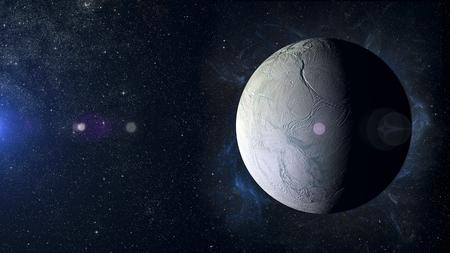 enceladus: Solar system planet on nebula background.