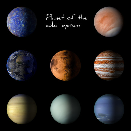 our: Set of solar system planets on black background 3d rendering.