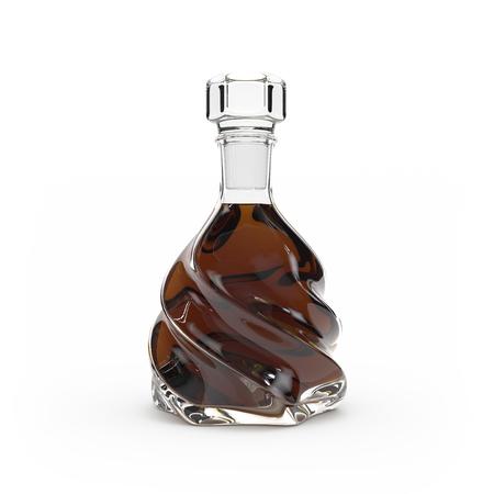 Whiskey bottle isolated 3d rendering on white background