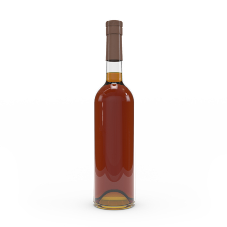Cognac bottle isolated 3d rendering on white background