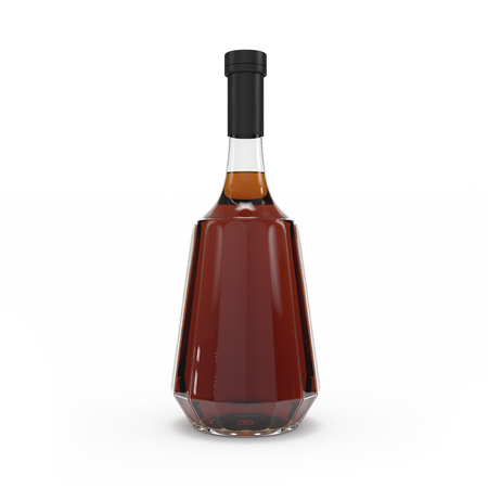 Whiskey bottle isolated 3d rendering on white background