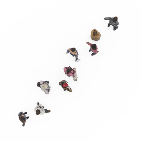 From above view of standing girls in queue. Illustration on white background, 3d rendering isolated.