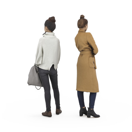 Back view of standing couple of girls. Illustration on white background, 3d rendering isolated.