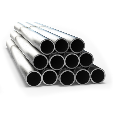 Stainless steel tube 3d rendering isolated. Stock Photo