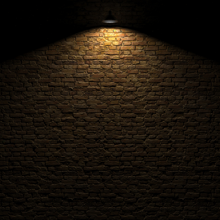 The highlighted stone wall by edison lamp 3d rendering