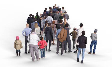Vue arrière de la foule ou de la file d'attente. Illustration sur fond blanc, rendu 3d isolé.
