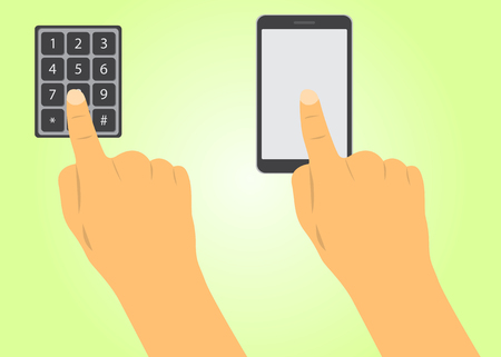 dials: finger dials the code buttons, clicks on the phone
