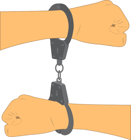 captivity: two hands with different sides put in handcuffs Illustration