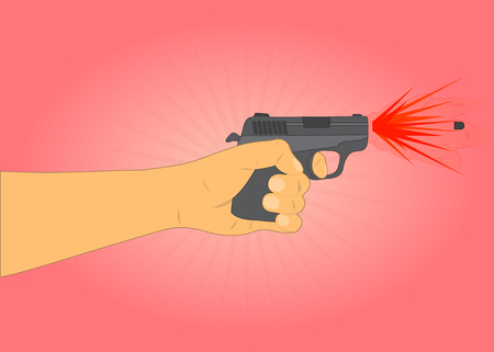mugging: hand holding a gun and fires a bullet with smoke and fire Illustration