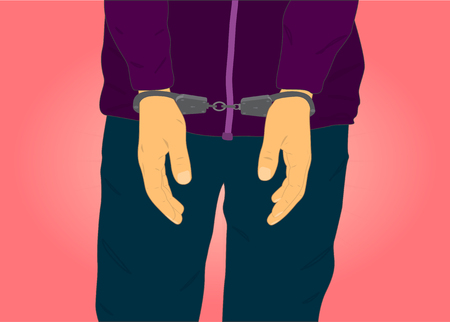handcuffed hands: hands handcuffed detainee against a background of the torso in a jacket and trousers Illustration