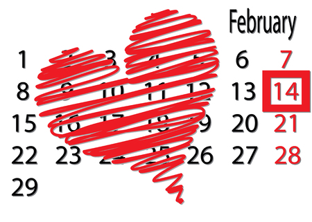 fourteenth: Valentines Day on February fourteenth calendar highlighted square. Big red heart on the calendar above.