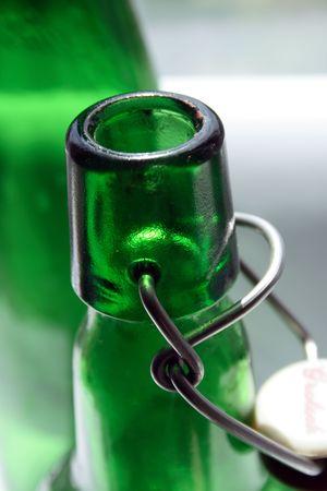 Green botlle with porcelan (china) corck Stock Photo - 3209780