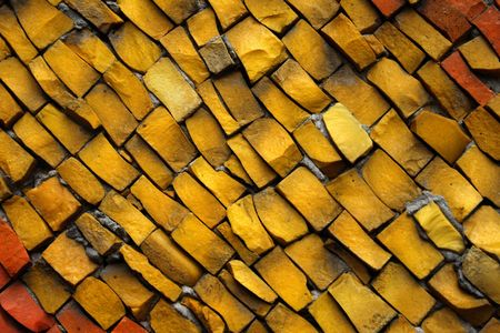 eclecticism: Mosaic from color ceramic tales Stock Photo