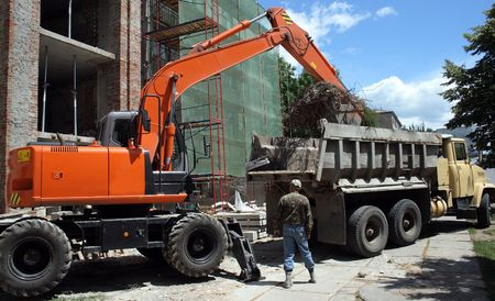 excavator on building work place  photo