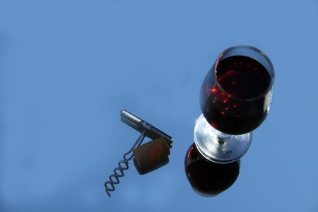 glasswear: red wine and corck on the mirror