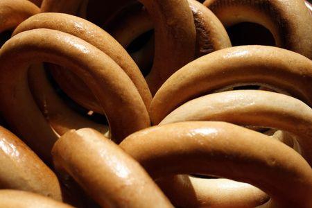 baranka: ring-shaped cracknel background Stock Photo