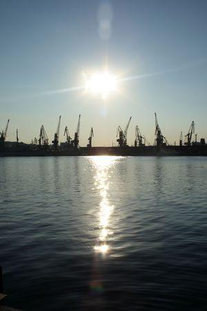 odessa: cranes in Odessa port, Ukraine