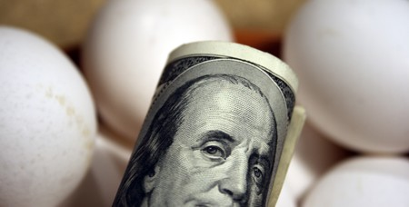 roll of dollars  with eggs photo