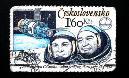 vostok: Vintage Chekh post stamp Soyuz-6 team