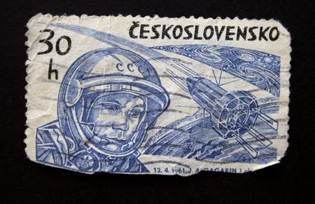 vostok: Vintage Chekh post stamp Yury Gagarin