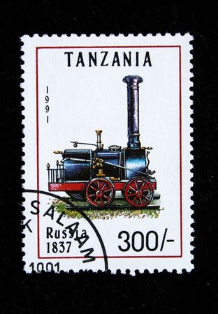 postmail: Old stamp.1991.Tanzania. Old locomotive. Russia 1837.