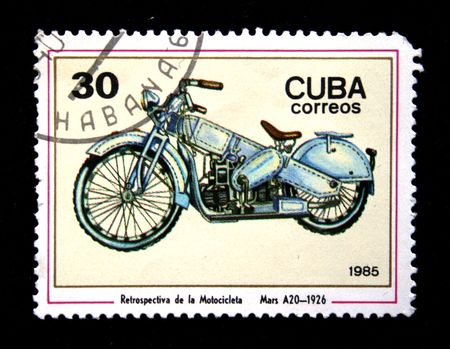 Cubanian stamp show motorcycle Mars A20, prodused 1926 photo