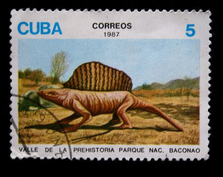 saurian: dinosaures on stamp produced in Cuba