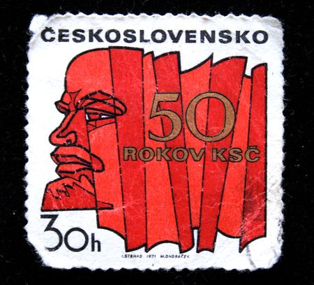 lenin: Stamp Fithty years of czechoslovakian party