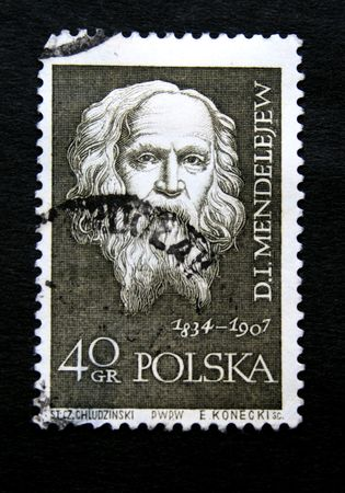mendeleev: A stamp printed in Poland shows Dmitry Mendeleev circa 1950s.