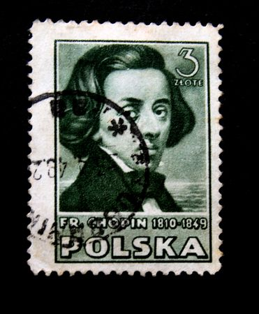 frederic chopin: A stamp printed by Poland shows The composer Frederic Chopin. This is one stamp from a series circa 1950s Editorial