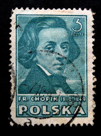 frederic: Un sello impreso por Polonia muestra el compositor Frederic Chopin. Se trata de un sello de una serie de alrededor de los a�os 1950