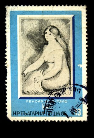 A stamp printed in Bulgaria shows draw by artist Renoir  The White body, circa 1970s