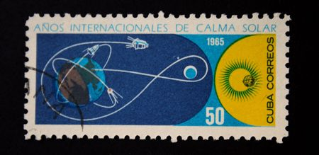 researches: A stamp printed in Cuba devoted international researches of the sun, circa 1965