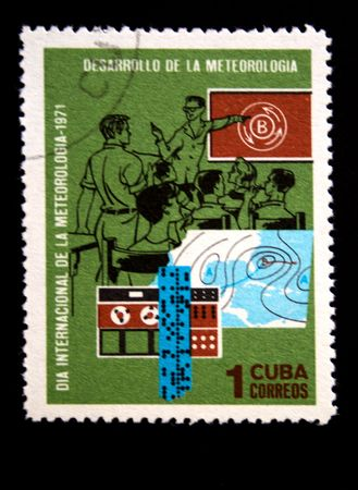 researches: A stamp printed in Cuba devoted Meteorologia researches, circa 1971