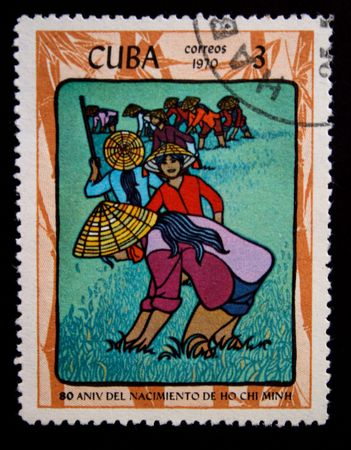 postmail: A stamp printed in the Cuba shows vietnam womens, circa 1969 Stock Photo