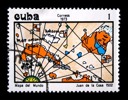cosa: A stamp printed in Cuba shows map of Juan de la Cosa, one stamp from series Ancient geographical maps, circa 1973