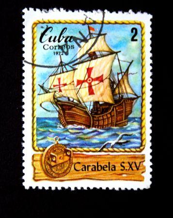 caravelle: Un timbre imprim� � Cuba montre la Caravelle, un timbre de la s�rie de bateaux � voiles, circa 1972